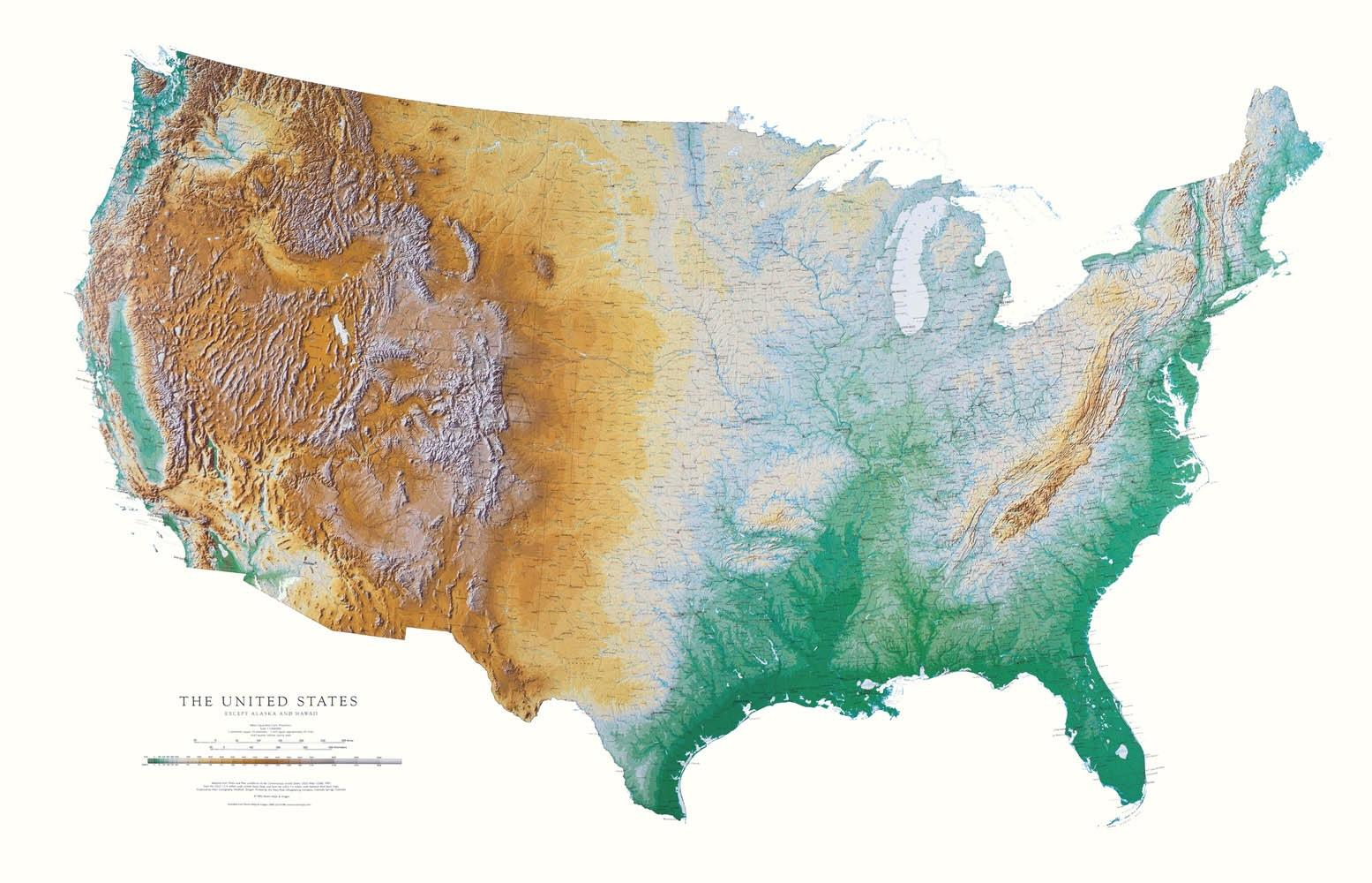 Us Elevation Tint Map Map