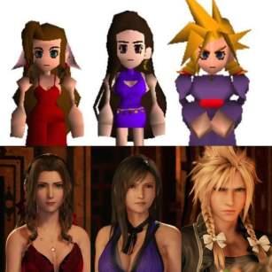 Final Fantasy 7 (top) vs Final Fantasy 7 Remake (bottom) dress ...
