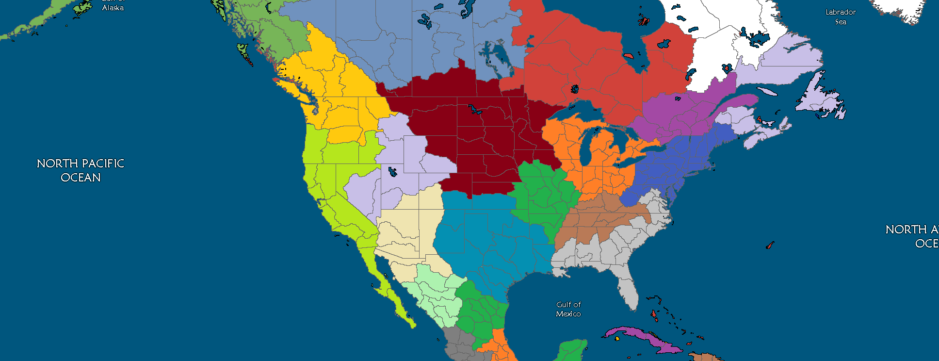 Map Borders America No North