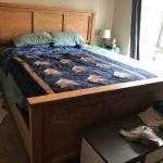 Made A California King Bed To Upgrade From Ikea Queen Size Bed Definitely My Biggest Project To Date Red Oak Red Oak Plywood Semi Stickley Style Legs Danish Oil More Pics In The Comments