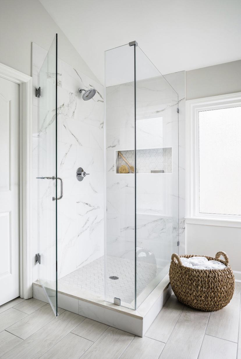 considering marble look shower wall and