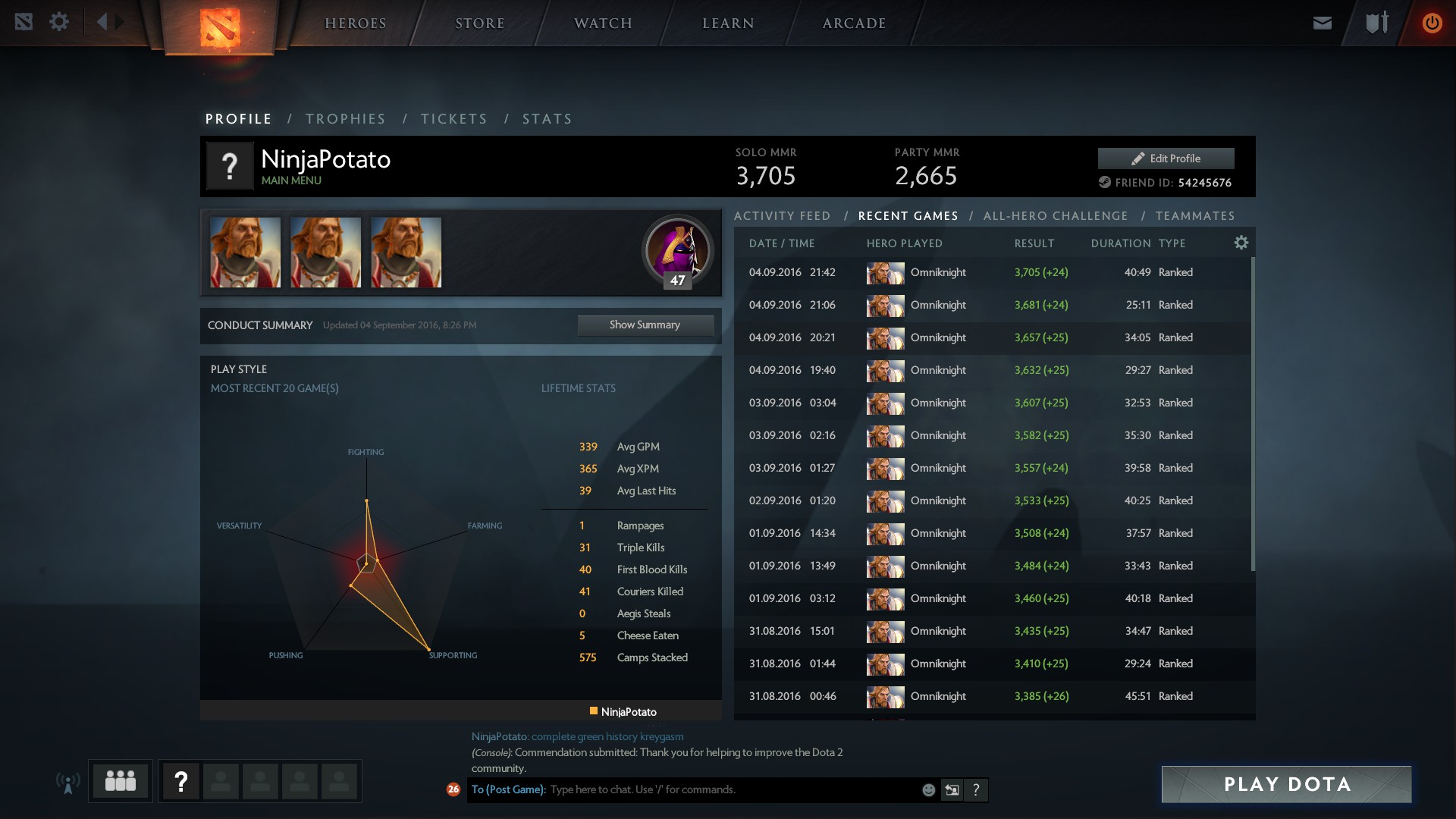 The Most Perfect Matchhistory DotA2