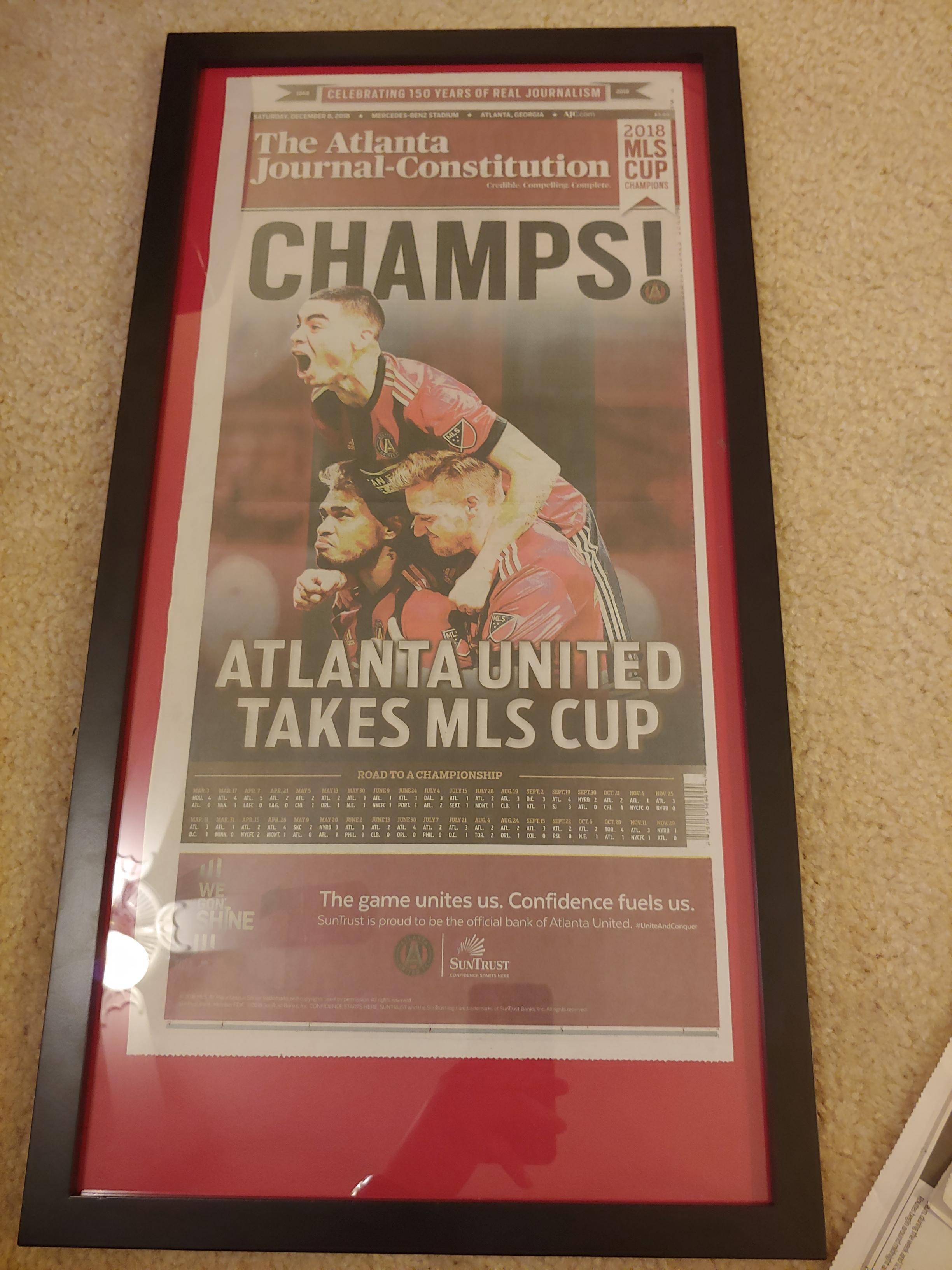 framed my championship newspaper