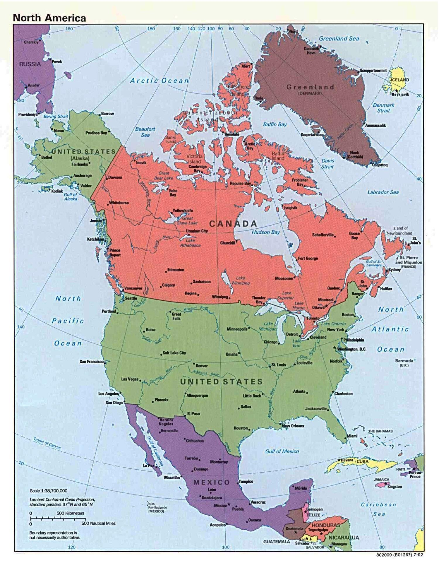 Simple Map Of North America 800x Map