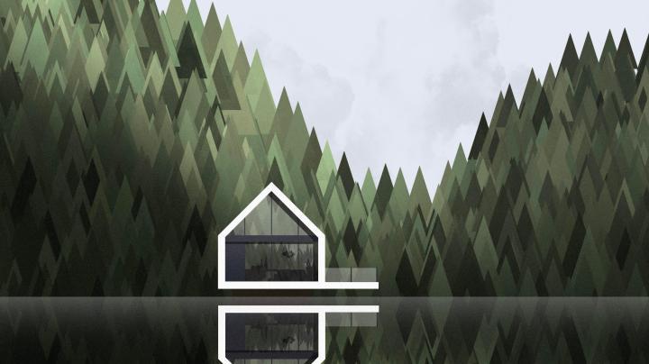 Modern Cabin in a Lake [3641×2048]