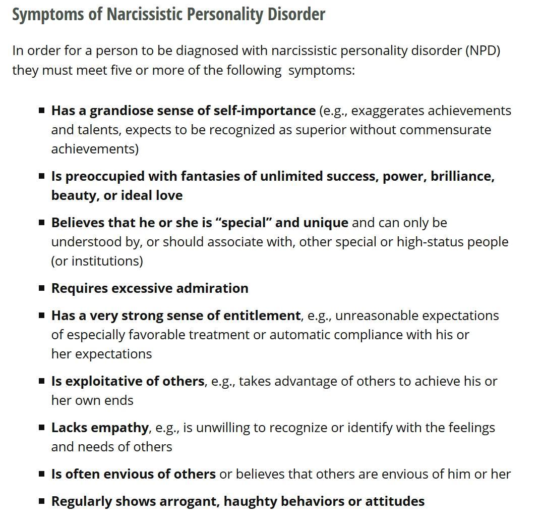 Narcissistic Behavior Types