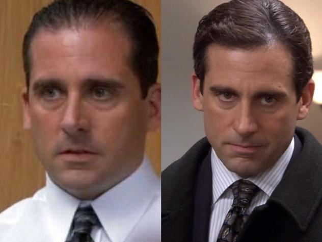 Season 1 Michael Scott on the left and Season 2 Michael Scott on the right.