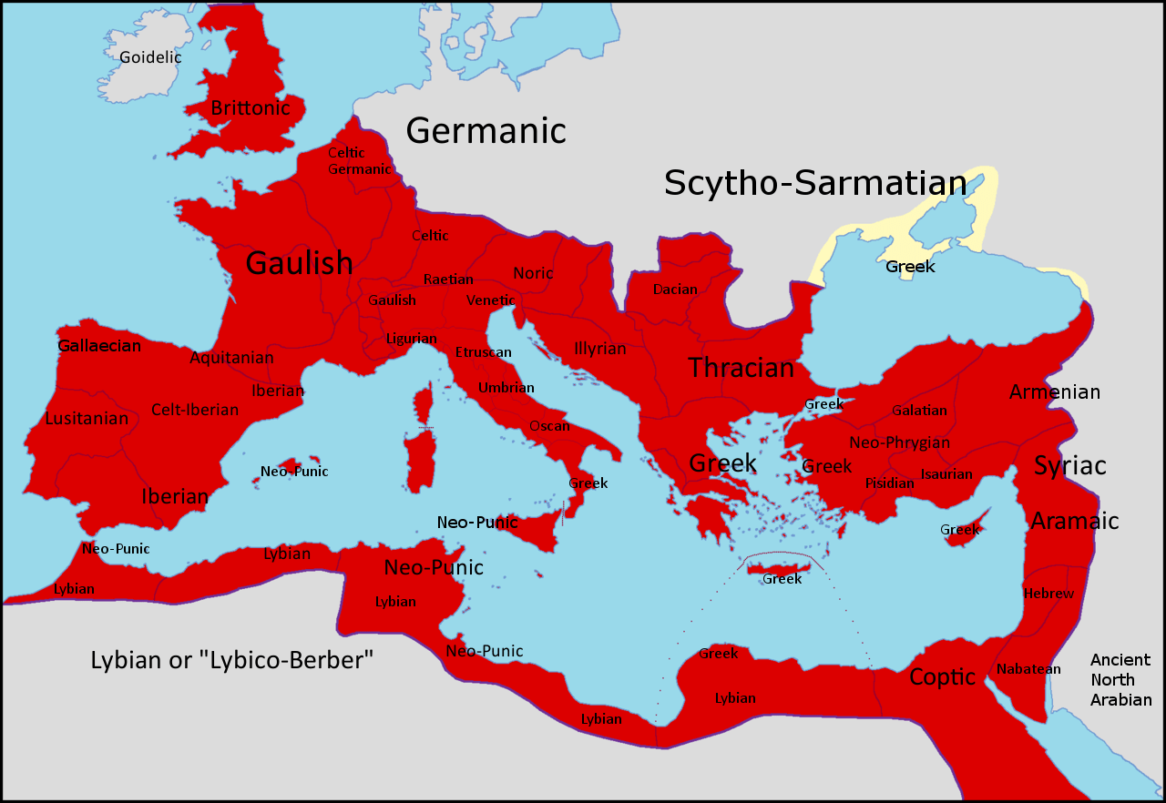 Provincial Languages Of The Roman Empire In 150 Ce