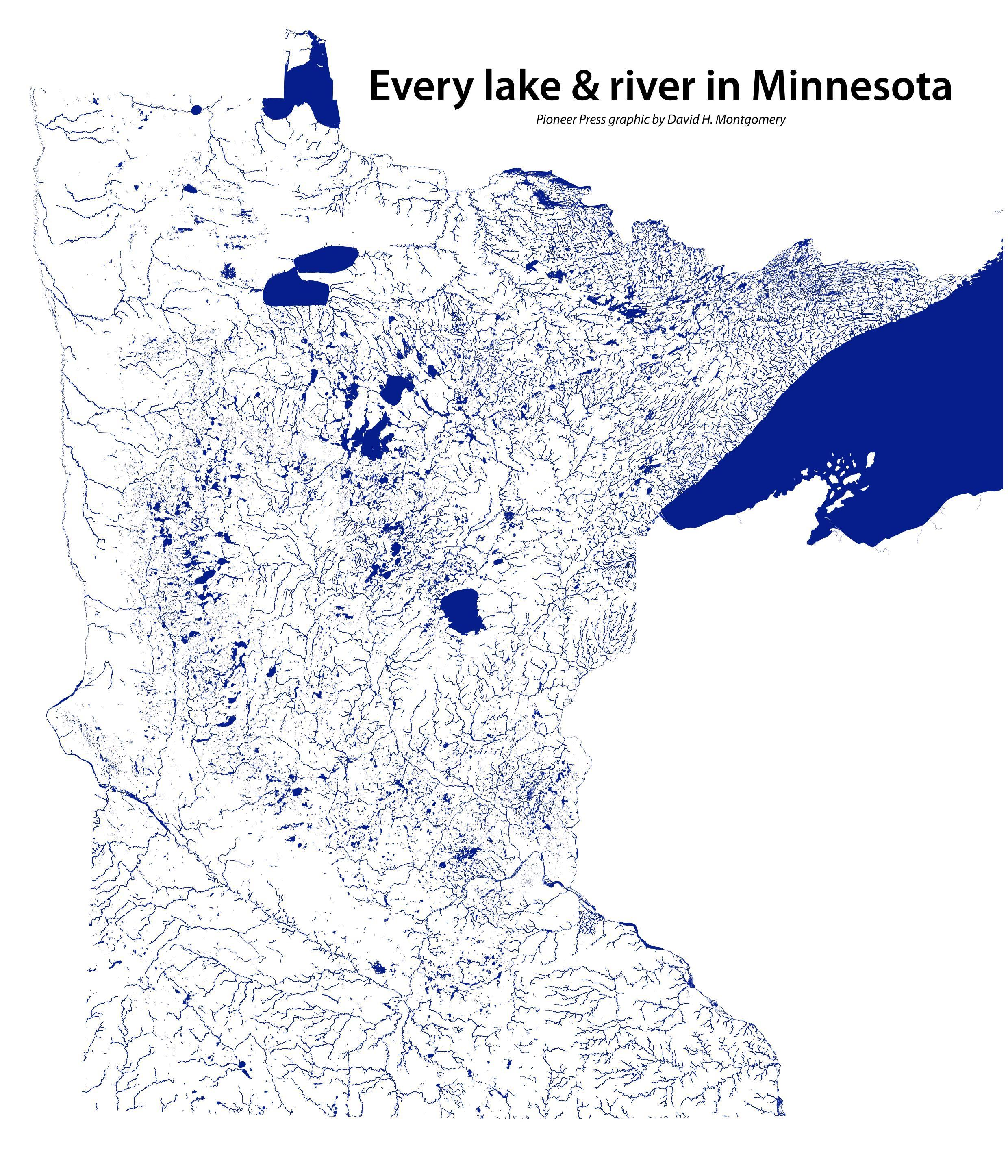 Every Lake Amp River In Minnesota X Map