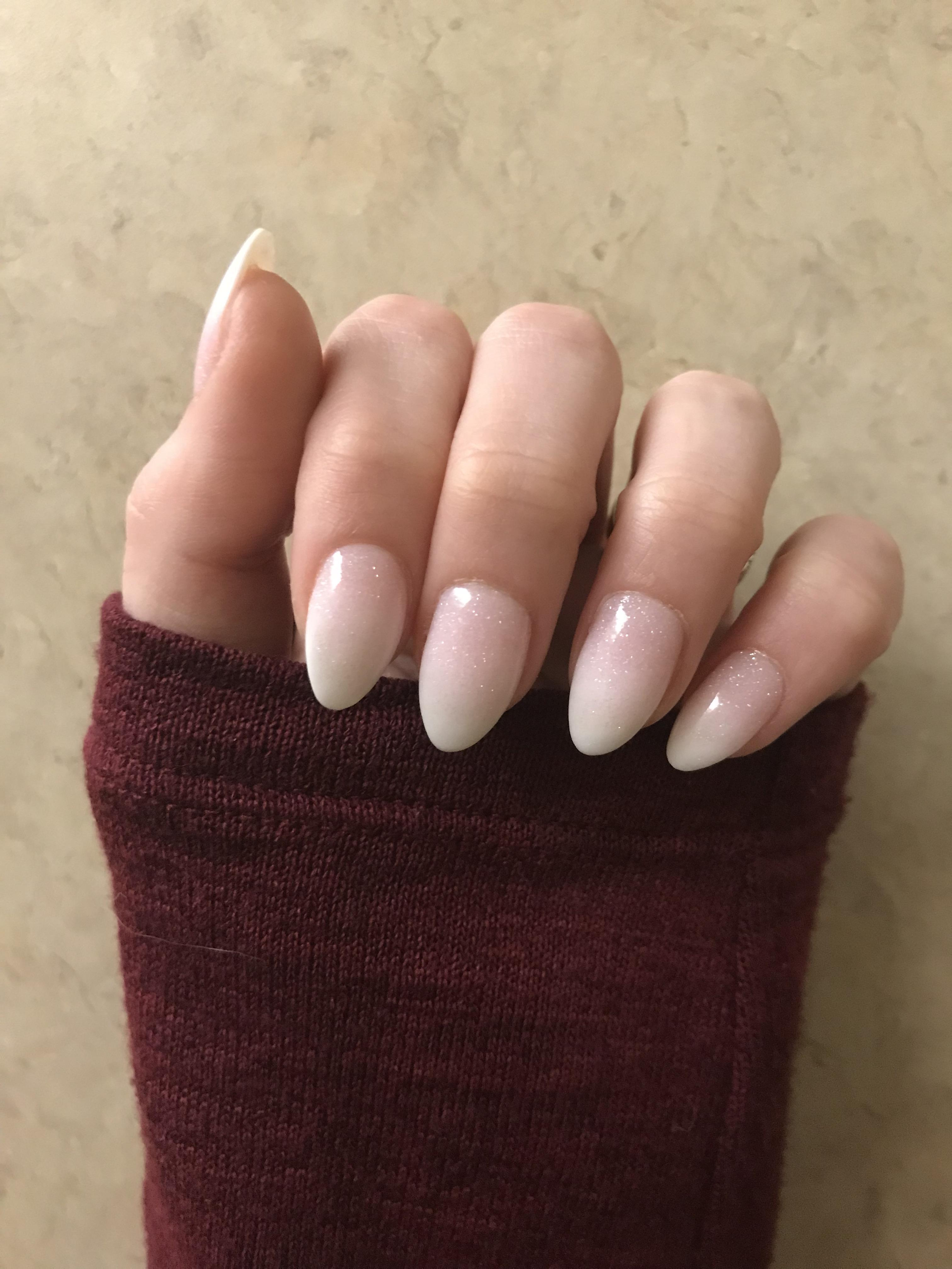 Sparkle Ombre French Short Almond Shape Thoughts Lacqueristas