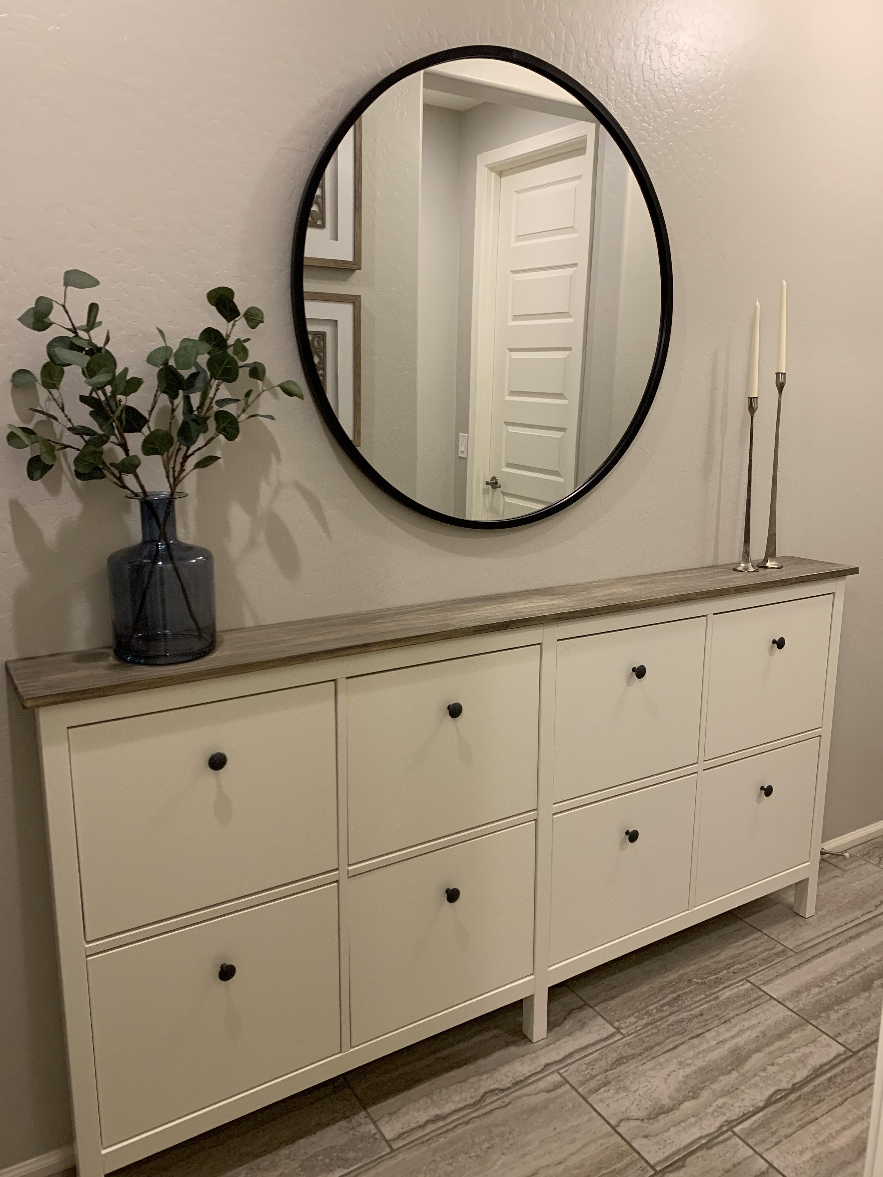For Our Narrow Entryway We Combined Two Ikea Hemnes Shoe Cabinets And Replaced The Original Tops With A Stained Wood Top I Am So Happy With How This Hack Turned Out