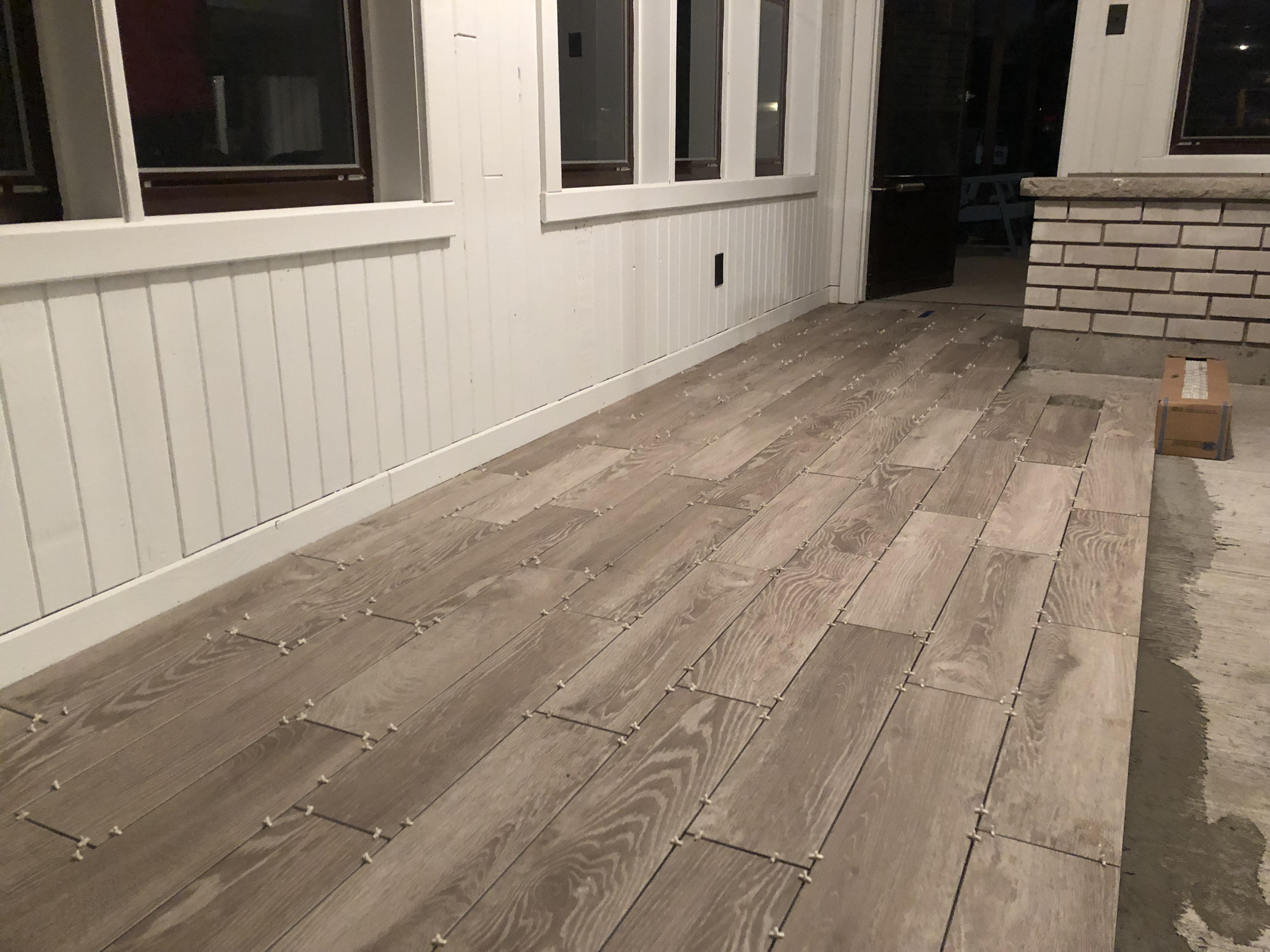 wood look 6x24 tile install for mom