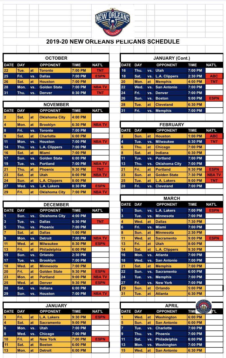 Full 2019 2020 Pelicans Nba Schedule Nolapelicans