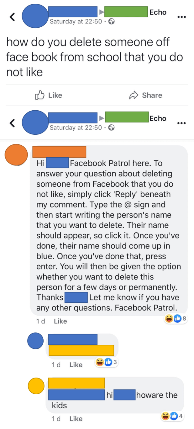 Old lady (blue) asks a local newspaper group how to delete someone
