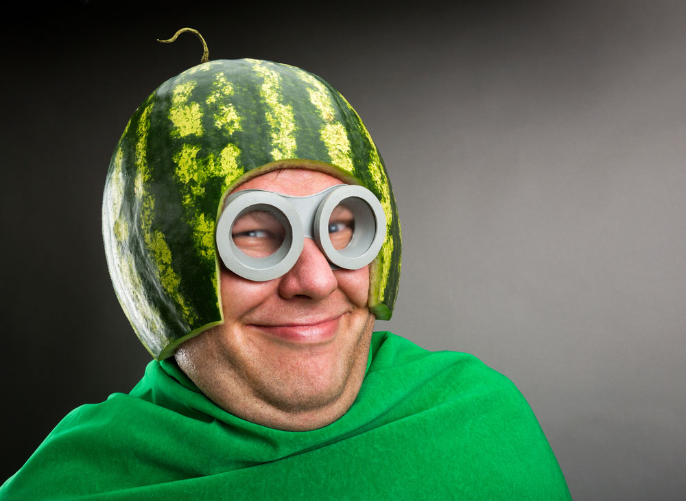 Psbattle This Guy Who S Wearing A Watermelon Helmet A Green