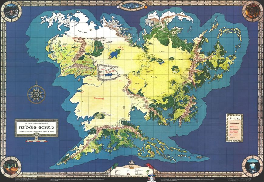 A Complete Map of Middle Earth  7970 x 5500    MapPorn A Complete Map of Middle Earth  7970 x 5500