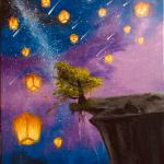 Night Sky During Lantern Festival Acrylics On Canvas By Me Amateurartists