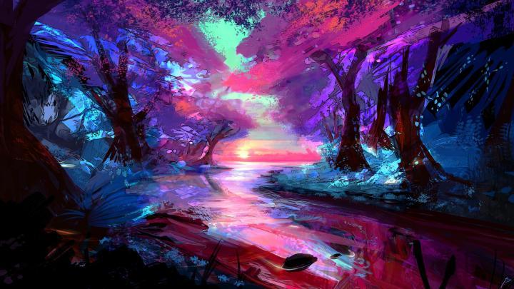 [2560×1440] colour vibrant forest.