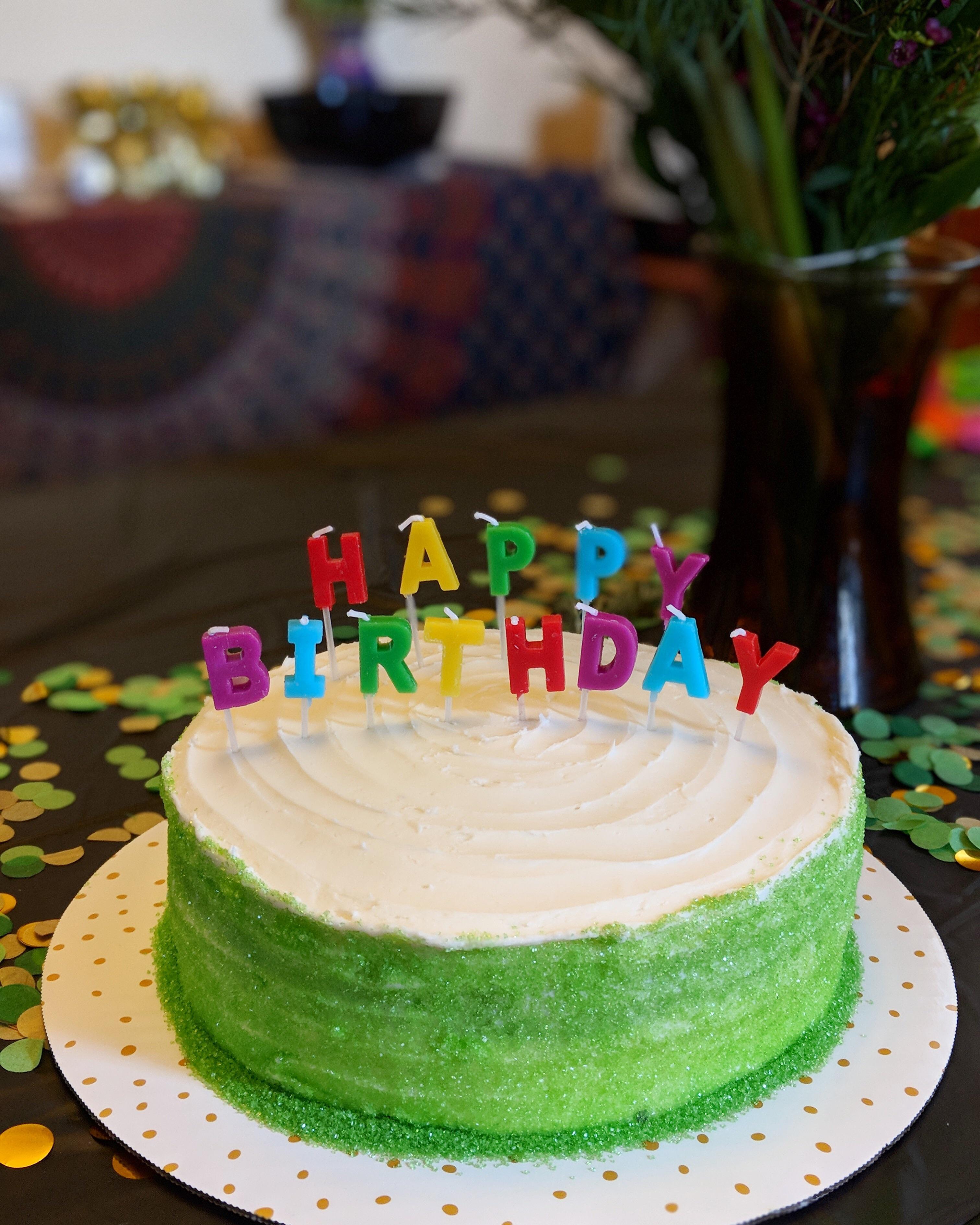 St Patrick S Day Birthday Cake Red Velvet Dyed Green Instead With Vanilla Buttercream And Sprinkles Baking