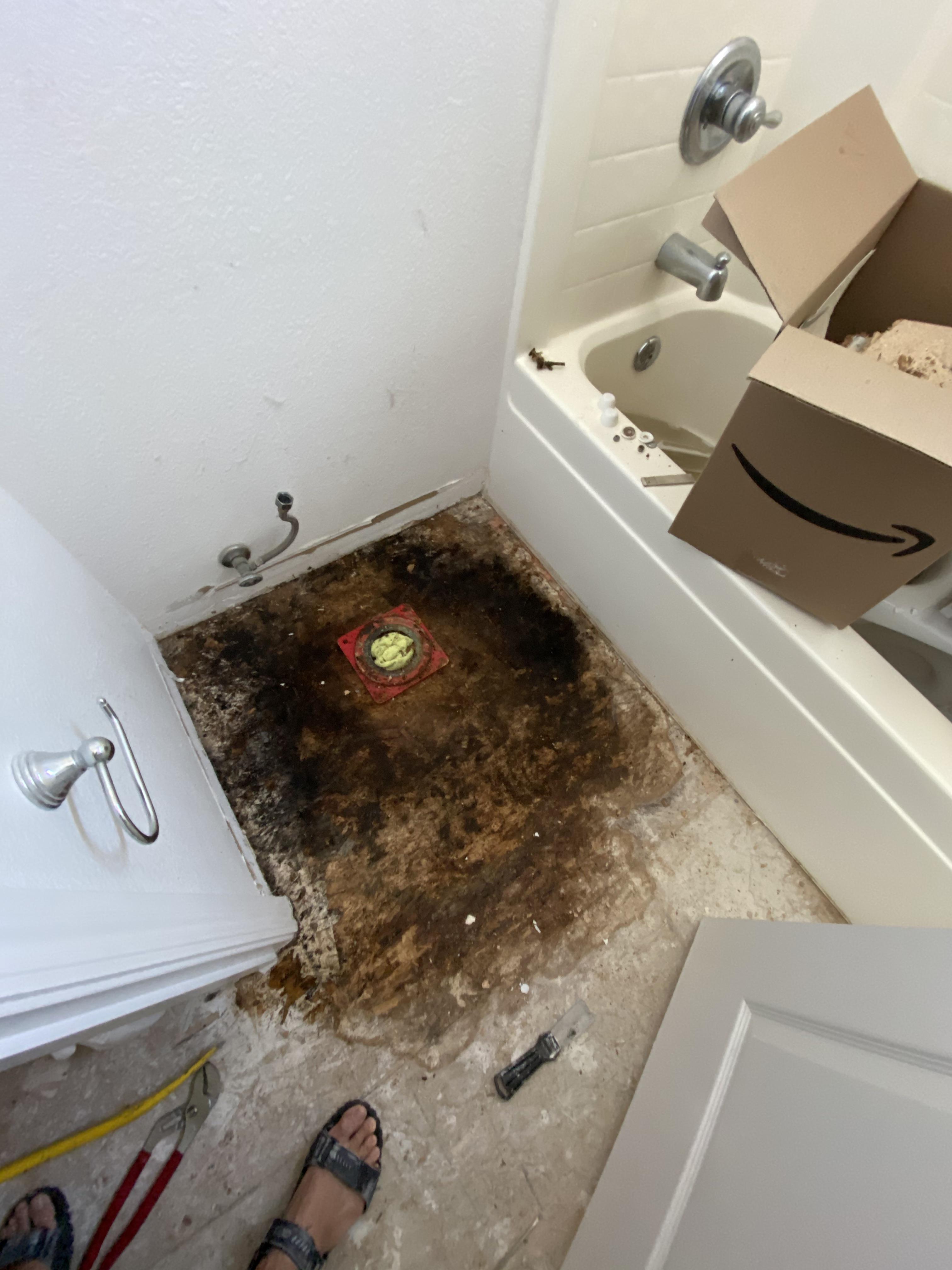 removed toilet tile osb flooring tile