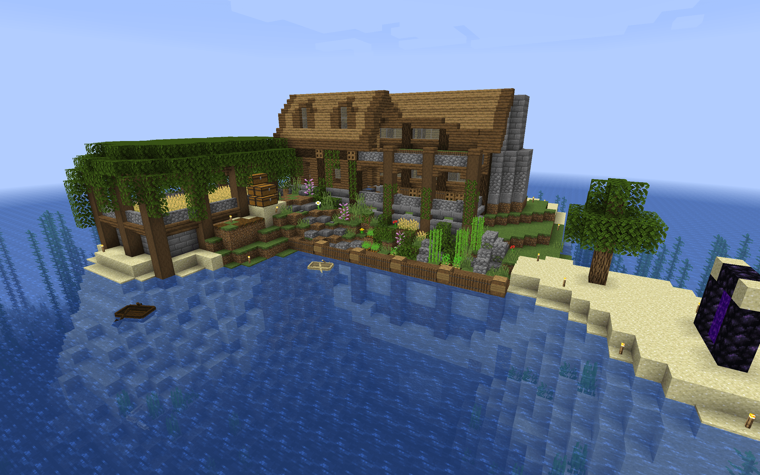 My WIP Island House On A Server I Play On. Critiques