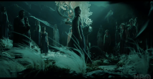 I paused the trailer right at the right moment to get this lovely  screenshot of the witch council! I'm not sure what that strange tree in the  middle is, but the whole