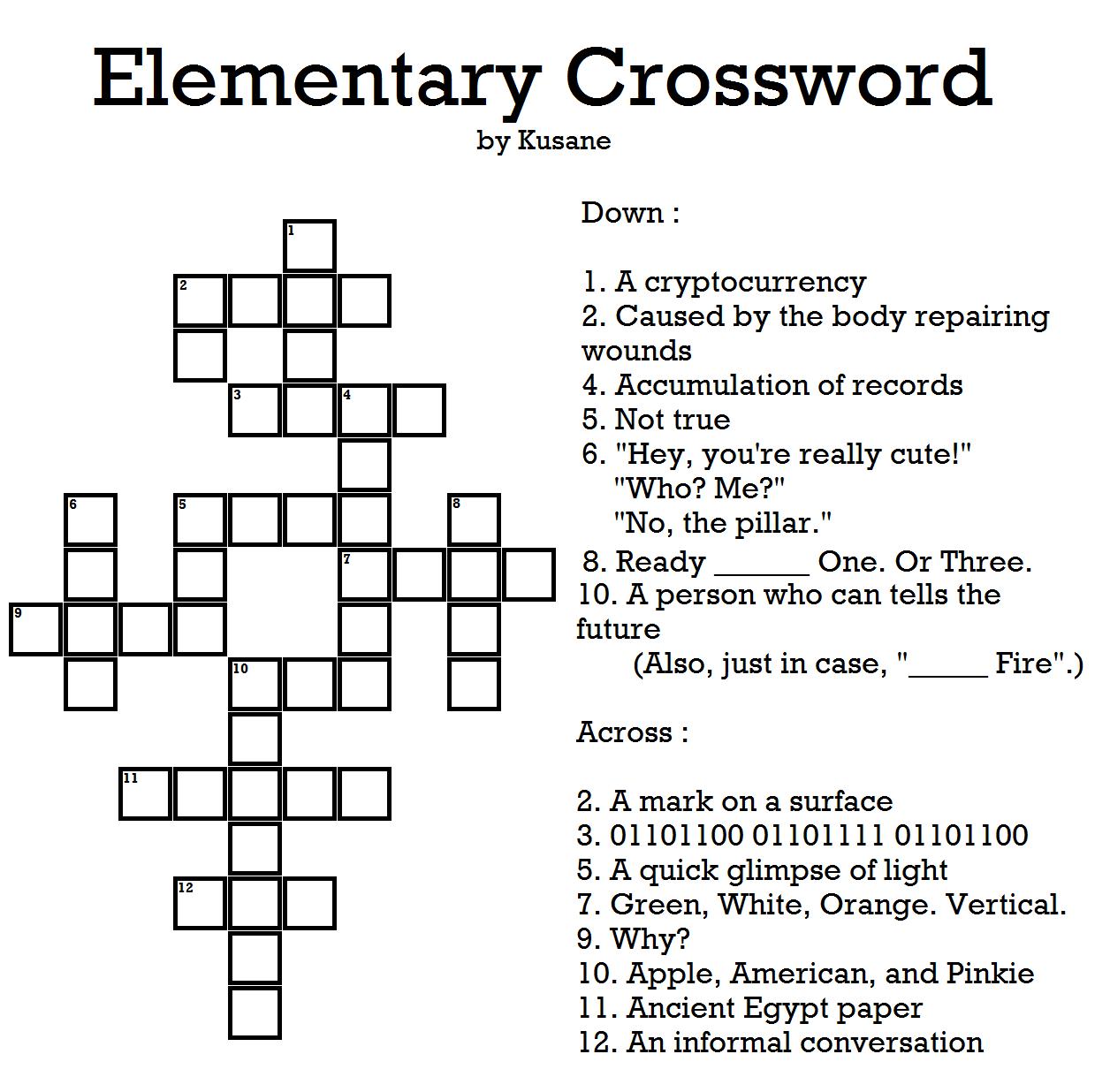Elementary Crossword Puzzles
