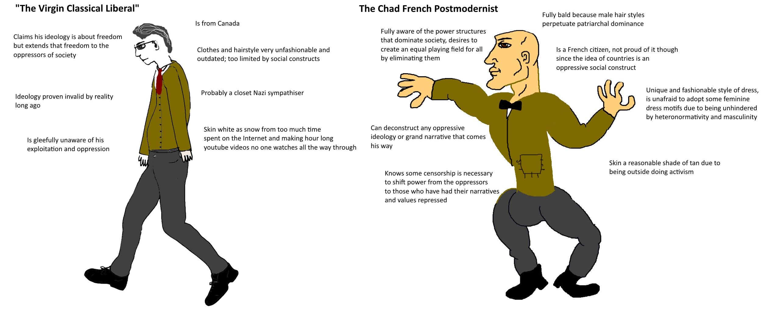 The Virgin Classical Liberal Vs The Chad French Postmodernist