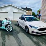 My 2018 Ford Fusion Titanium And Her Custom Wrapped Painted 2009 Kawasaki Ninja 650r Ford
