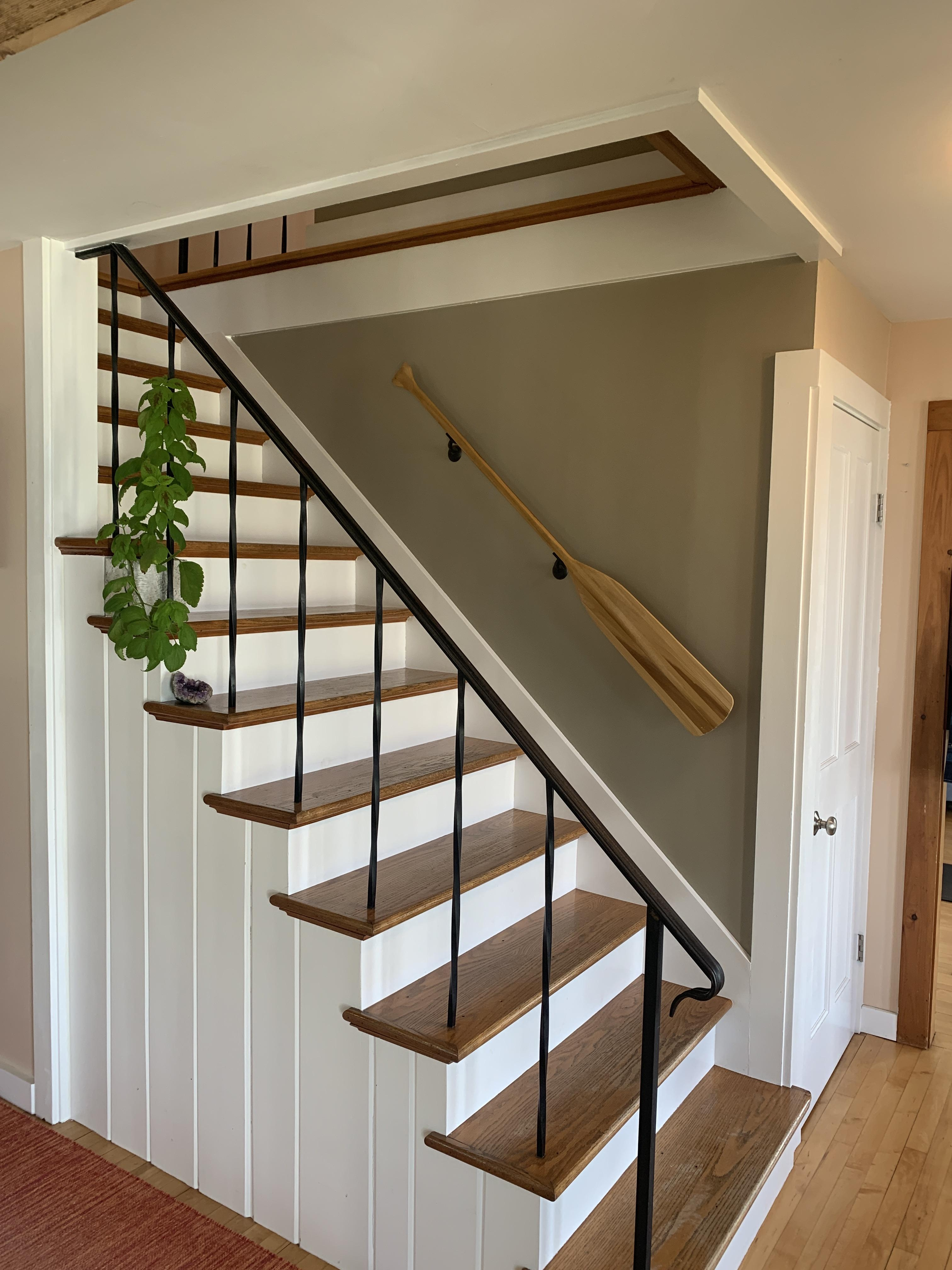 Refinished Old Pine Staircase In Lake House Amateurroomporn | Knotty Pine Stair Railing | Tongue Groove | Antique Wooden Stair | Log | White | Newel Post