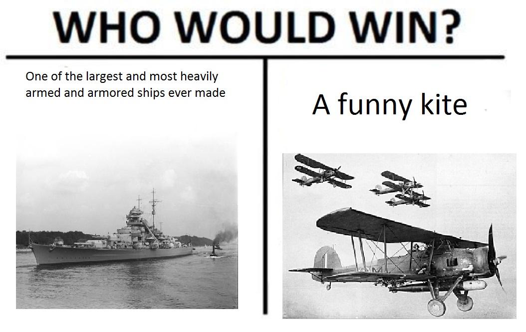 Who Would Win Bismarck Fairey Swordfish The Biggest Warship Ever