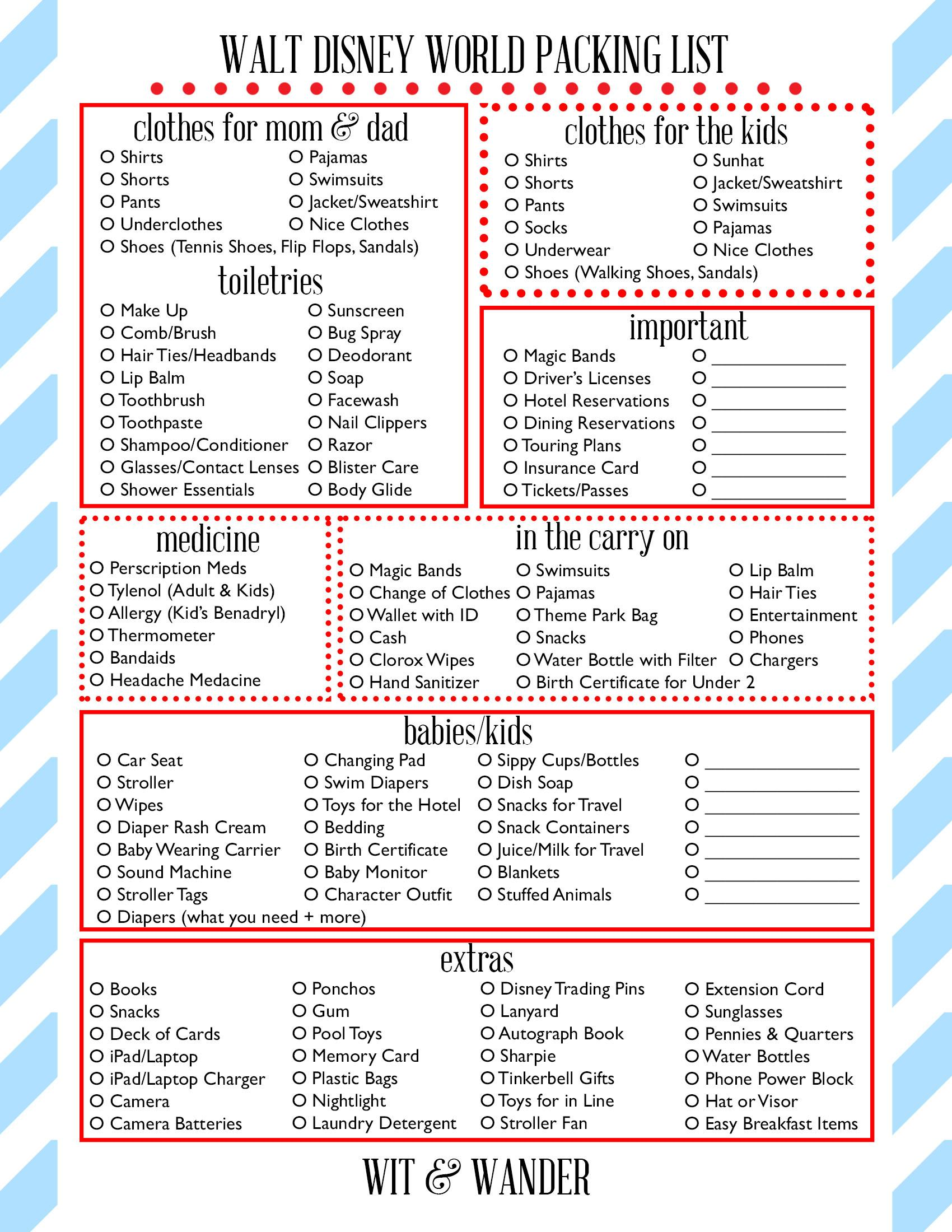 Wit And Wander Walt Disney World Printable Packing Sheet This Should Help First Timers