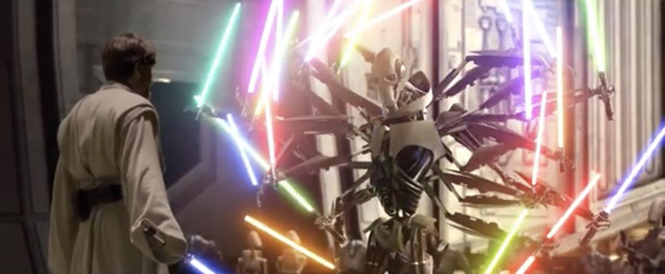 Grievous With A Bunch Of Lightsabers Vs Obi Wan With One