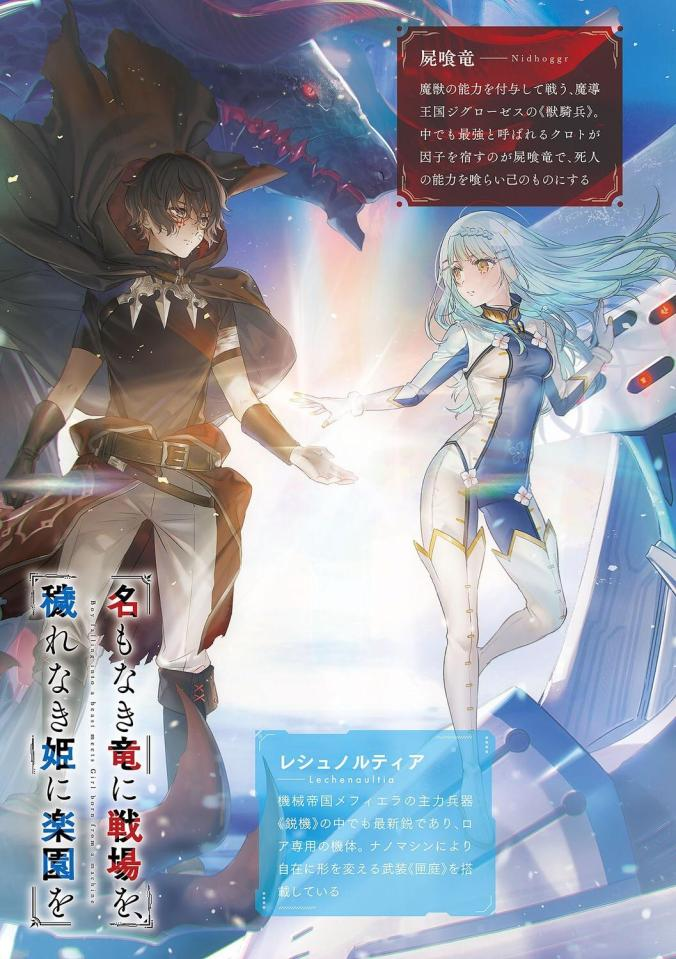 Are there any EN Translations of this LN: Boy turning into a beast meets girl born from a machine / Na Mo Naki Ryuu Ni Senjou Wo Kegare Naki Hime Ni Rakuen Wo?