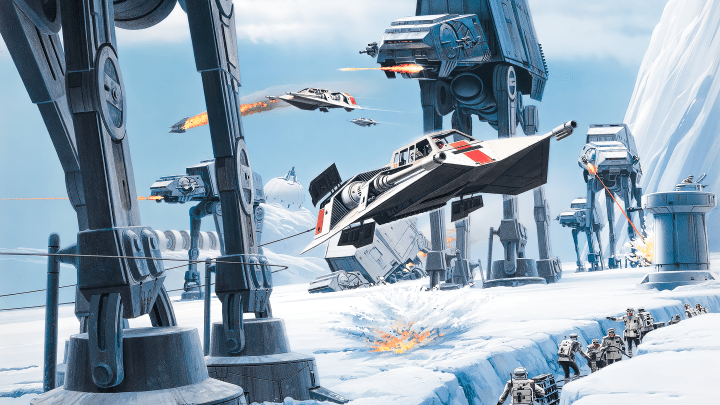 Battle of Hoth by Ralph McQuarrie (Star Wars) [3840×2160]