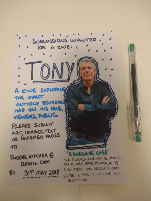 a picture of a callout for a zine about anthony bourdain