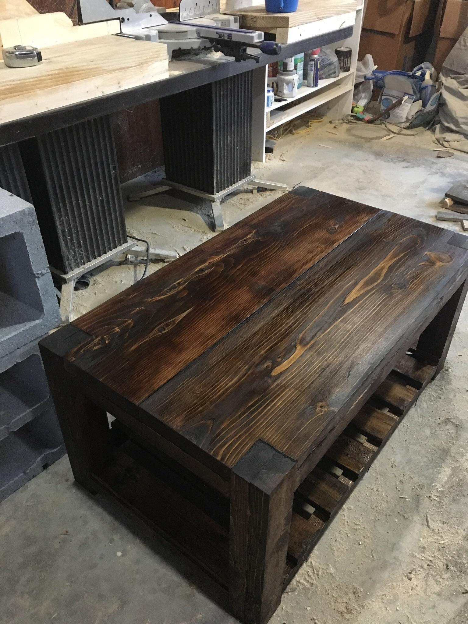 built a coffee table out of scrap wood