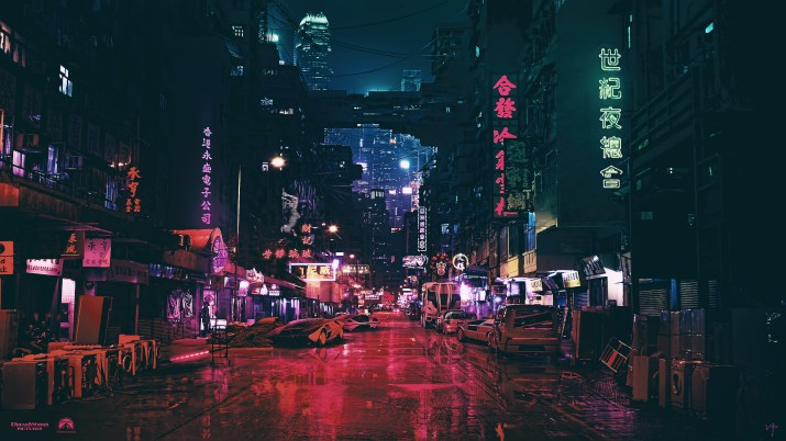 [3840×2160] Pink Cityscape Night