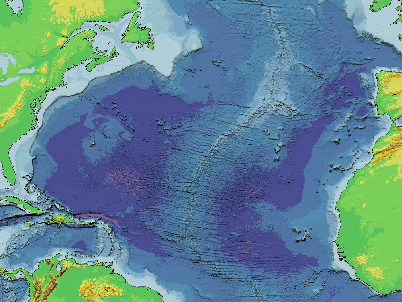 A Map Of The North Atlantic Bathymetry X 975 Map