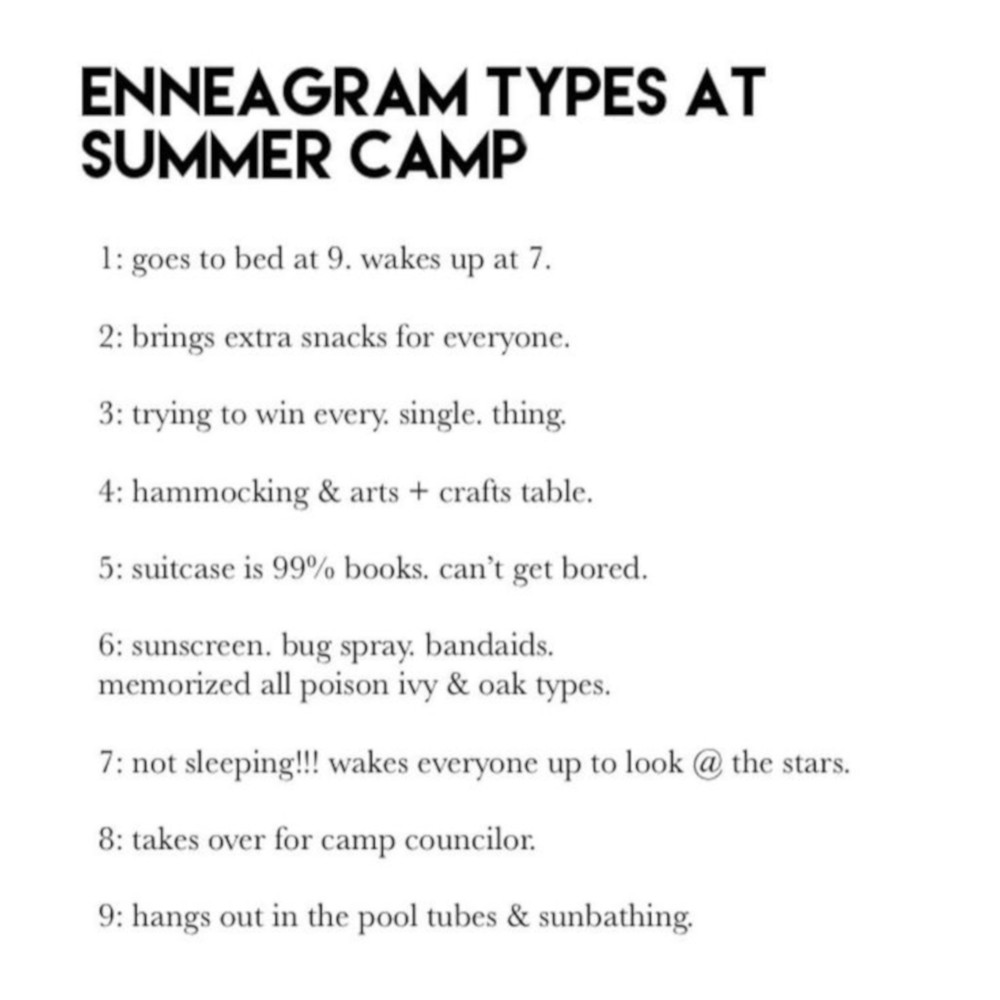 Enneagram Types At The Summer Camp Enneagrammemes