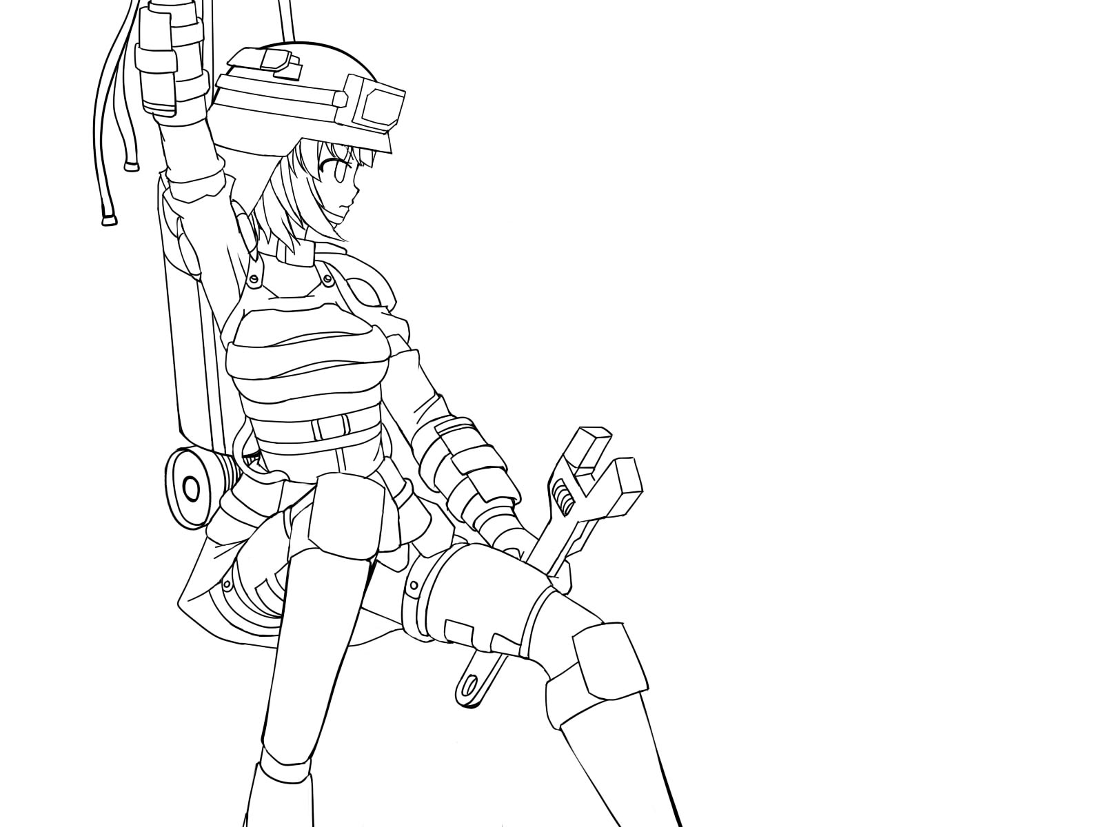Rappelling Engineer Girl W O Color Improve Armor