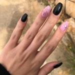 Matte Black And Pink Marble Nails Nails