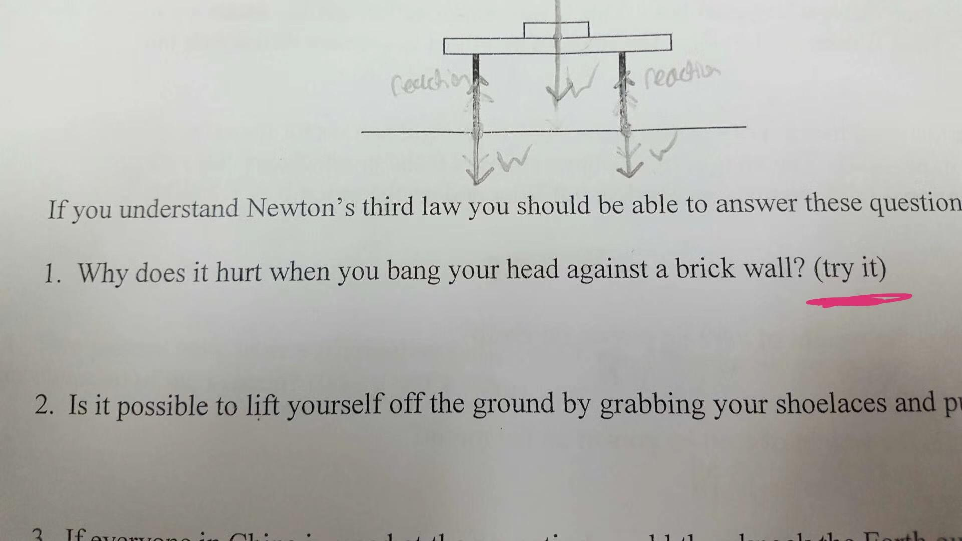 I Was Looking At Old Pictures On My Phone Where I Found A Picture Of This Physics Worksheet With