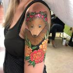 Bear Cub Wearing A Sweet Pea Flower Crown In A Carnation Flower Frame By Lucy Lou At Studio Evolve In Virginia Beach Virginia Tattoos