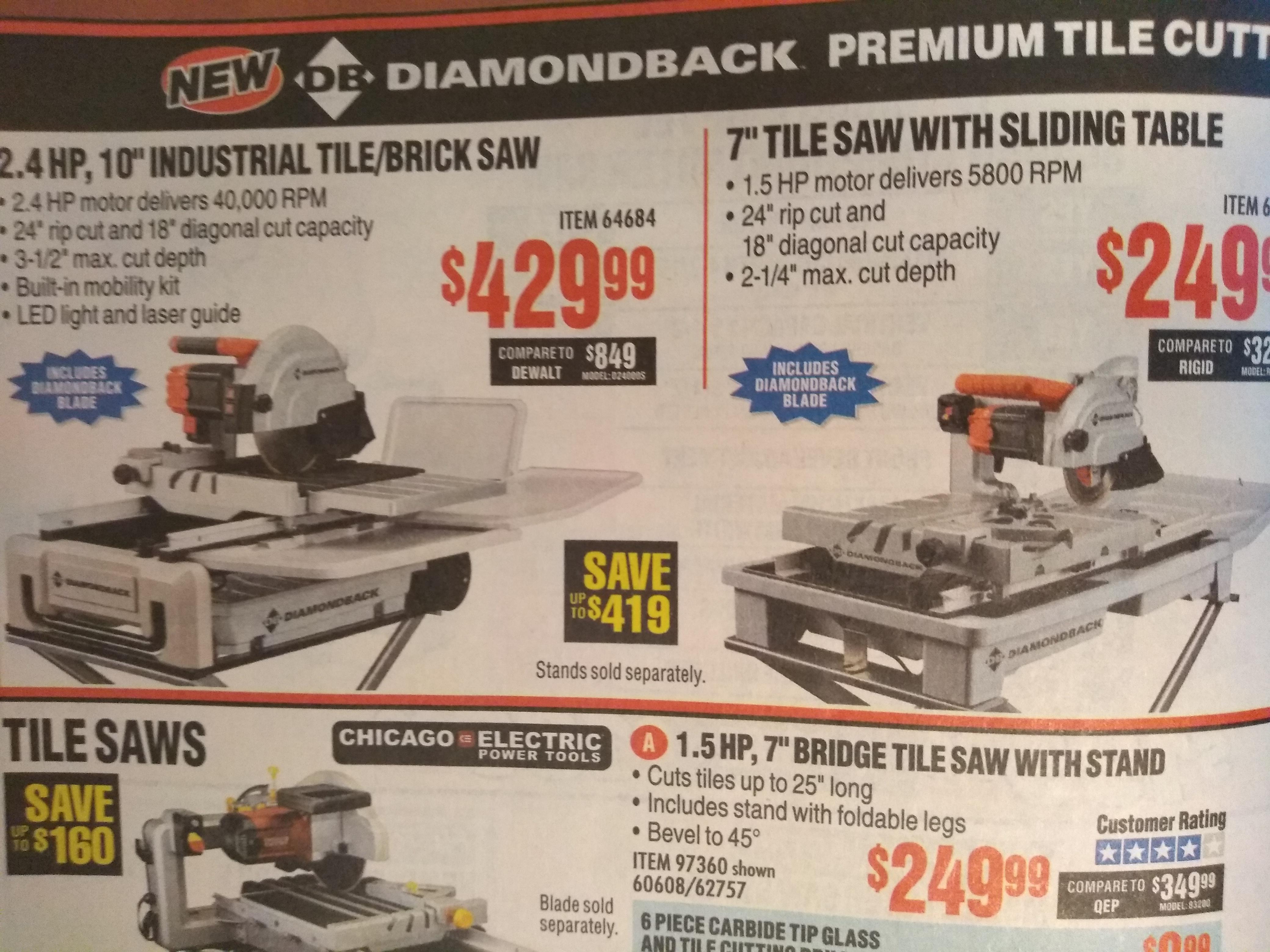 new diamondback tile saws harborfreight