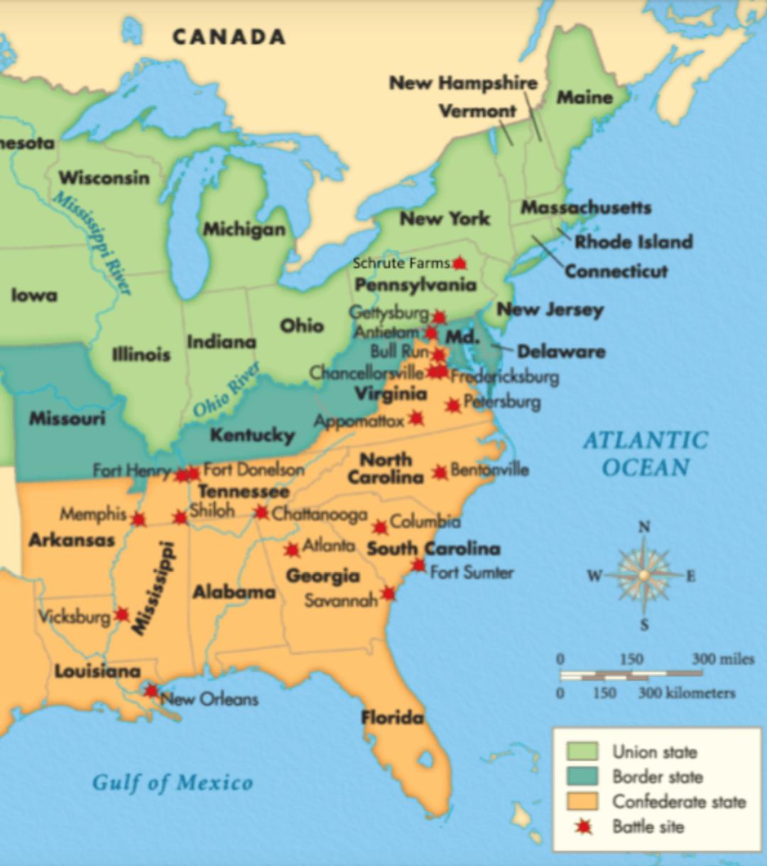 Map Of All Major Civil War Battles Dundermifflin
