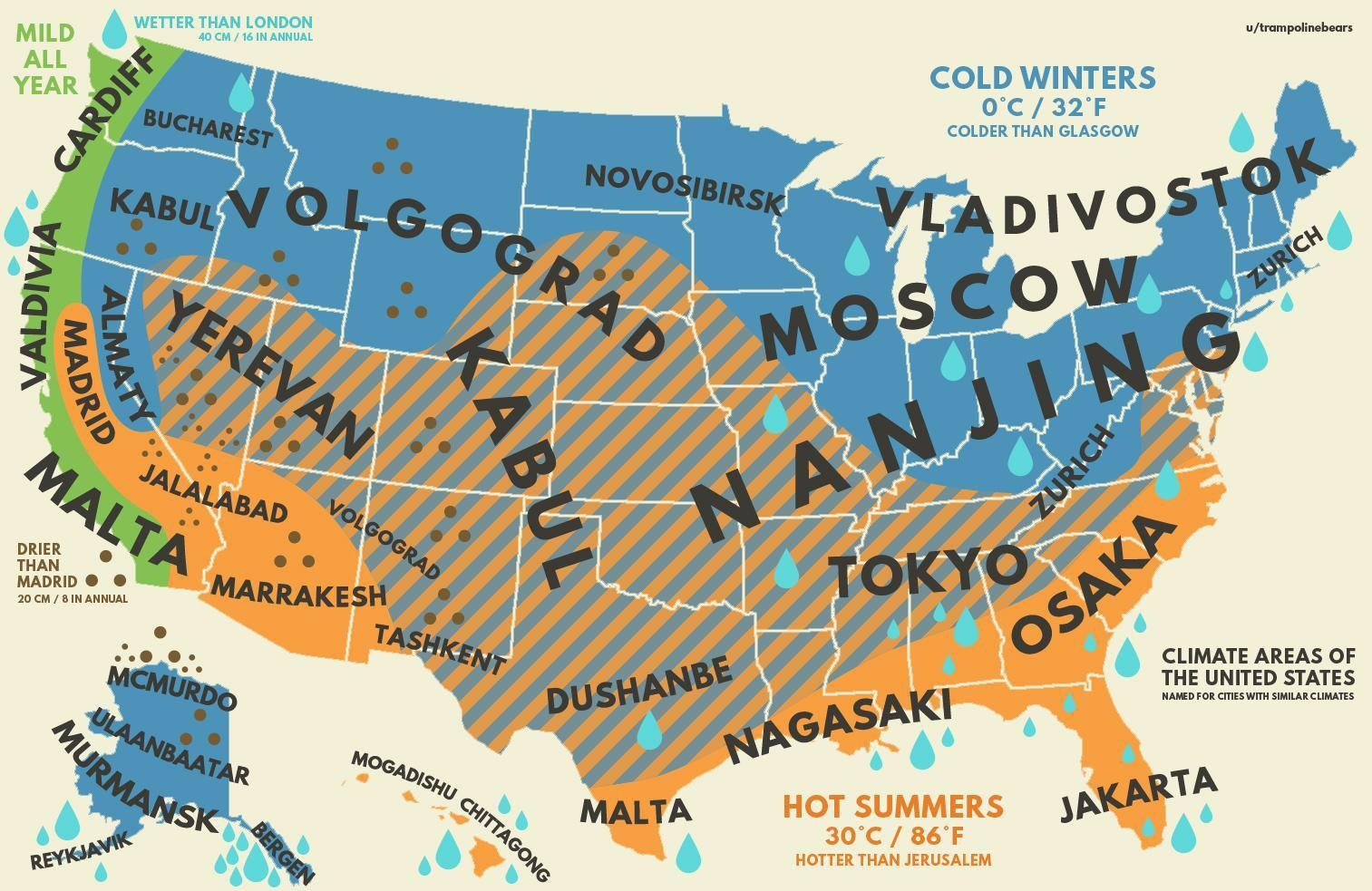 U S Climate Map With Other Equivalent Cities Climates