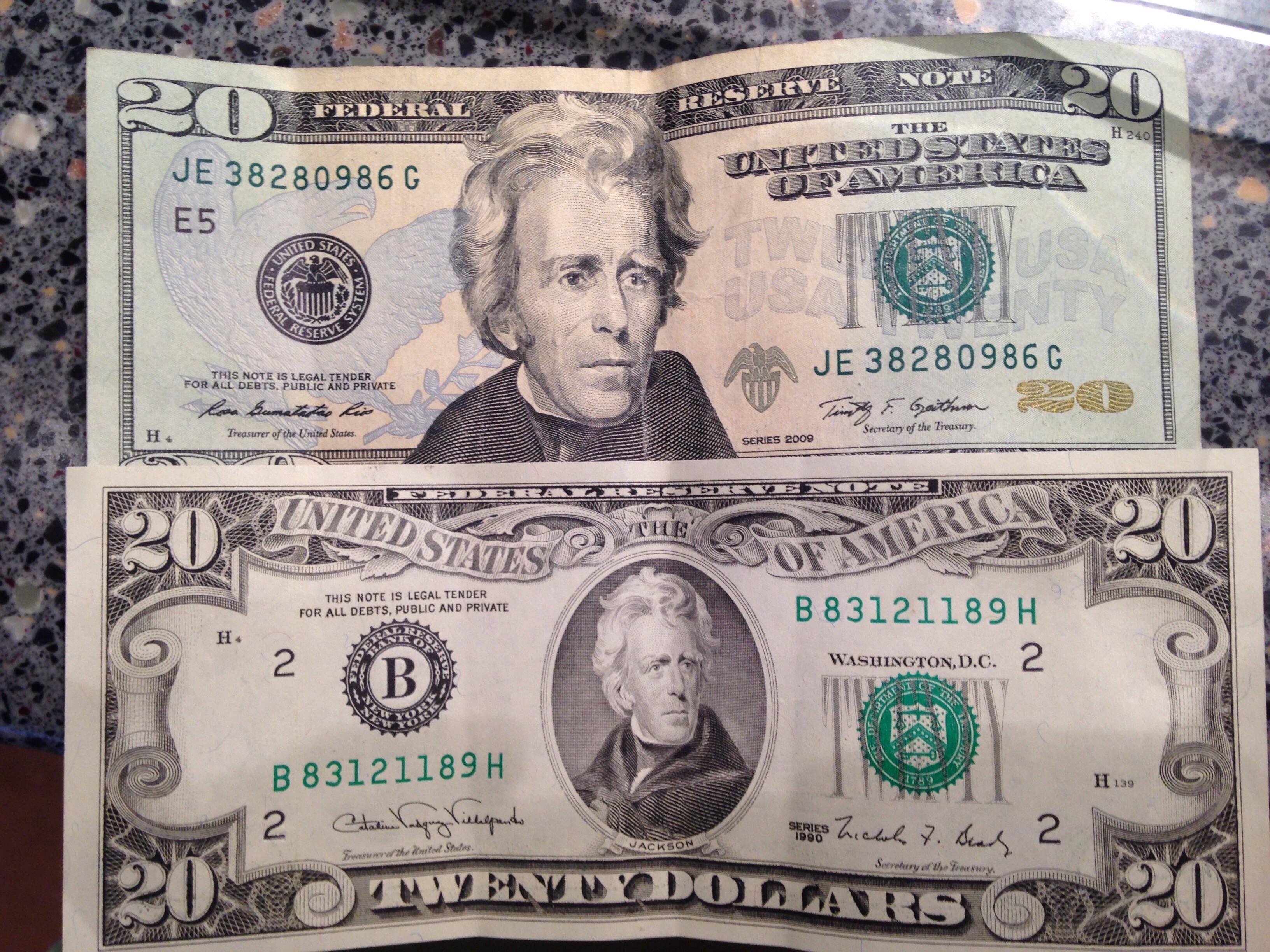 Two Twenty Dollar Bills Almost Two Decades Apart Same