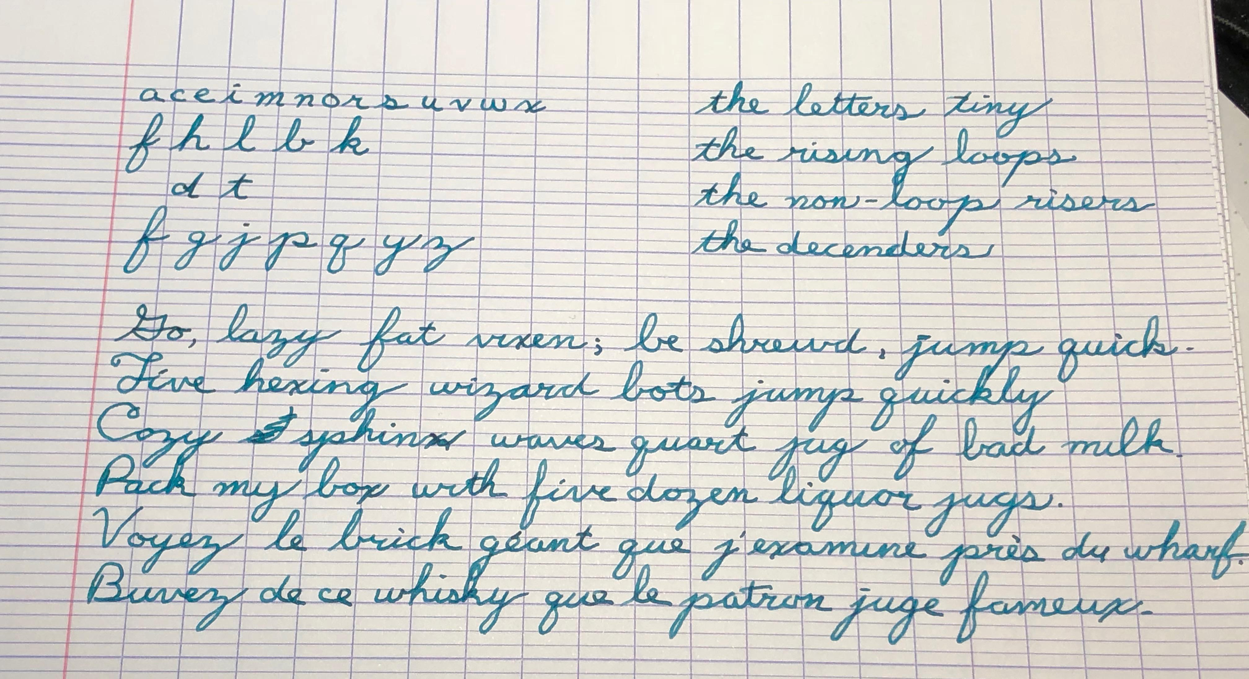 Practice On French Ruled Paper Handwriting