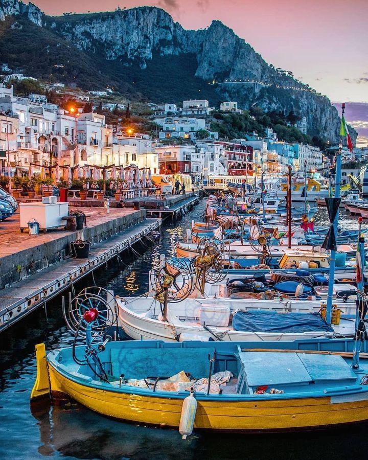 Evening at the Port of Capri Italy